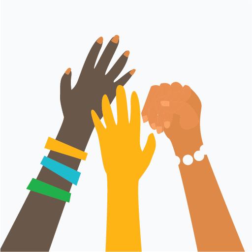 kuvituskuva, kolmen naisen kädet yhdessä kurottaa ylös