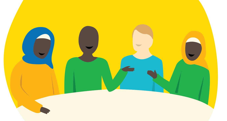kuvituskuva neljä henkilöä kokouspöydän ääressä