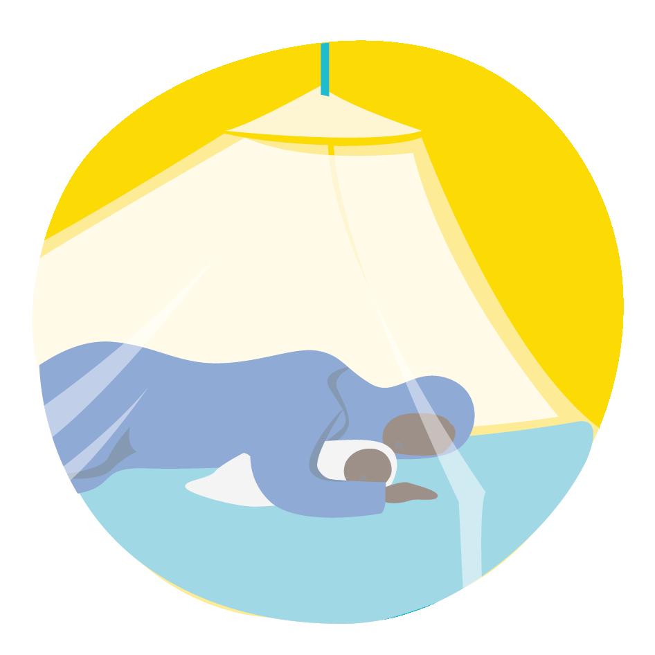 Äiti ja vauva nukkuvat malariaverkon alla suojassa, klikkaamalla siirryt infotekstiin malariapaketista.