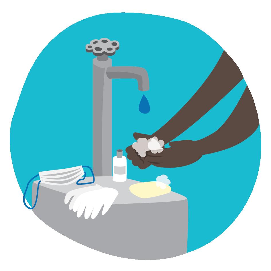 Kuva käsienpesutilanteesta, käsiä saippuoidaan lavuaarilla, jolle on asetettu myös kasvomaski sekä suojahanskat, klikkaamalla siirryt infotekstiin hygieniapaketista.