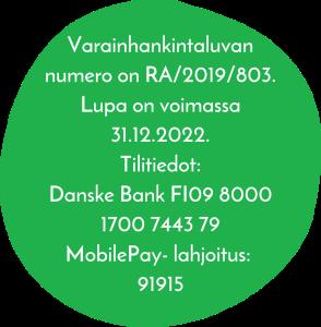 Lahjoita seuran hankkeille. Varainhankintaluvan numero on RA/2019/803. Lupa on voimassa 31.12.2022. Tilitiedot: Danske Bank FI0980001700744379. MobilePay-lahjoitus: 91915.